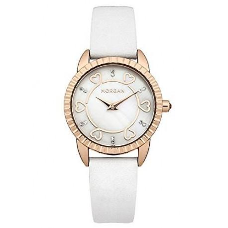 Morgan Damen-Armbanduhr Analog Quarz Weiß M1185WG