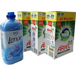 Ariel 3in1 Pods 3 x 48 WL + Gratis Lenor XXL