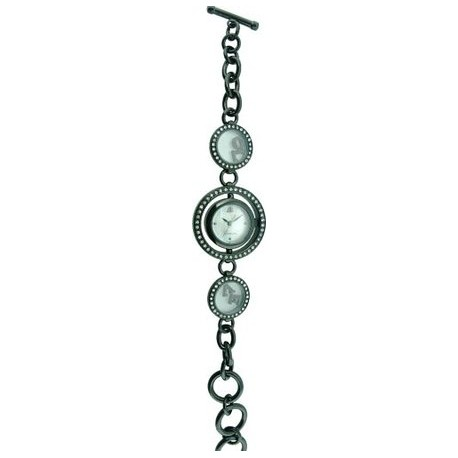 Jennifer Lopez - 36077 Damen-Armbanduhr Alyce Quarz analog Armband Metall-rund-Metall Strass Schwarz