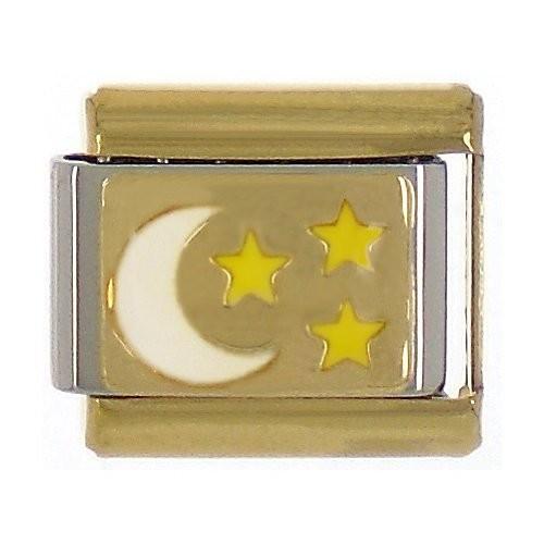 MOND mit Sternen - weiß/gold